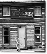 Meat And Cheese Market Black And White Canvas Print