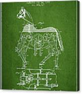 Mechanical Horse Patent Drawing From 1893 - Green Canvas Print