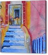 Med Flavours In Santorini Canvas Print
