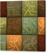 Medieval 12-tile Collage Autumn Colors Canvas Print