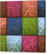 Medieval 12-tile Collage Spring Colors Canvas Print