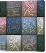Medieval 12-tile Collage Winter Colors Canvas Print