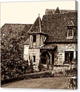 Medieval Cottage In Sarlat Sepia Canvas Print