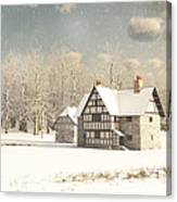 Medieval Farmhouse In Winter Snow Canvas Print