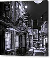 Medieval Street In York Bw Canvas Print