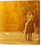 Medieval Woman On Horseback Canvas Print