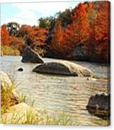 Fall Cypress At Bandera Falls On The Medina River Canvas Print