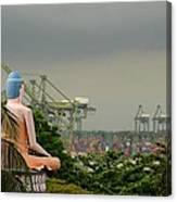 Meditating Buddha Views Container Seaport Singapore Canvas Print