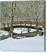 Meeks Park Bridge In Snow Canvas Print