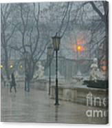 Meeting  In The Rain Canvas Print