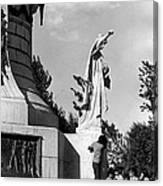 Memorial Statue Children Playing Juarez Chihuahua Mexico 1977 Black And White Canvas Print