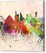 Memphis Skyline In Watercolor Background Canvas Print