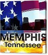 Memphis Tn Patriotic Large Cityscape Canvas Print