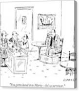 Men In A Restaurant Discuss A Patron Whose Feet Canvas Print