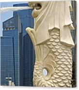 Merlion Statue By Singapore River Canvas Print