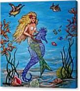 Mermaid And Seahorse Morning Swim Canvas Print
