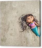 Mermaid In The Sand Canvas Print