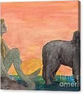 Mermaid Newfoundland Dog Sunset Cathy Peek Art Canvas Print