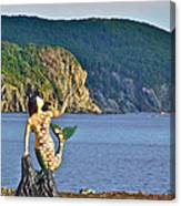 Mermaid On A Dock In Twillingate Harbour-nl Canvas Print