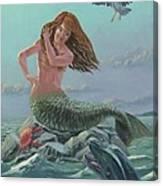 Mermaid On Rock Canvas Print