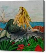Mermaid Sailboat Flowers Cathy Peek Fantasy Art Canvas Print
