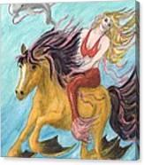 Mermaid Sea Horse Dolphin Fantasy Cathy Peek Canvas Print