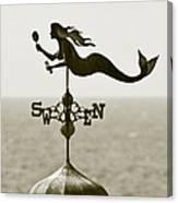 Mermaid Weathervane In Sepia Canvas Print