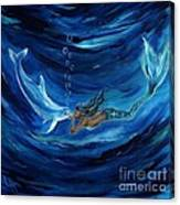Mermaids Dolphin Buddy Canvas Print