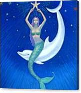 Mermaids- Dolphin Moon Mermaid Canvas Print