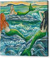 Mermaids On The Rocks Canvas Print
