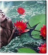 Mermeid And Water Lilies Canvas Print