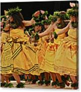 Merrie Monarch Hula Dancers In Yellow Dresses Canvas Print