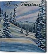 Merry Christmas - Winter Landscape Canvas Print