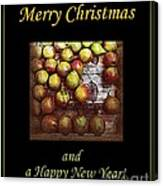 Merry Christmas And A Happy New Year - Little Gold Pears And Leaf - Holiday And Christmas Card Canvas Print