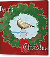 Merry Christmas Greeting Card - Young Seagull Canvas Print