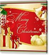 Merry Christmas Greeting With Gifts Bows And Ornaments Canvas Print