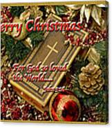 Merry Christmas - John 3 V16 Canvas Print