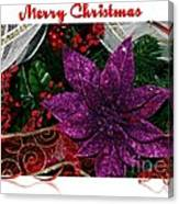 Merry Christmas Red Ribbon Canvas Print