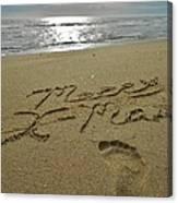 Merry Christmas Sand Art Footprint 4 12/25 Canvas Print