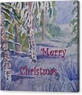 Merry Christmas - Snowy Winter Path Canvas Print