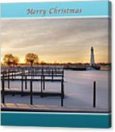 Merry Christmas Winter Marina And Lighthouse Canvas Print
