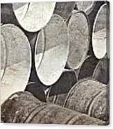 Metal Barrels 1bw Canvas Print