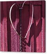 Metal Heart On Red Barn Canvas Print
