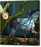 Metal Horse Sculpture Canvas Print