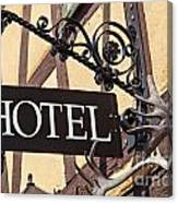 Metal Hotel Sign Canvas Print