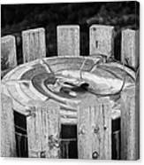 metal public garbage bin with wire lid strap Saskatchewan Canada Canvas Print