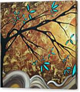 Metallic Gold Textured Original Abstract Landscape Painting Apricot Moon By Madart Canvas Print