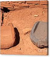 Metates At Wupatki Pueblo In Wupatki National Monument Canvas Print