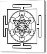 Metatron's Cube - Black Canvas Print