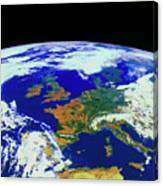 Meteosat Image Of Europe Canvas Print